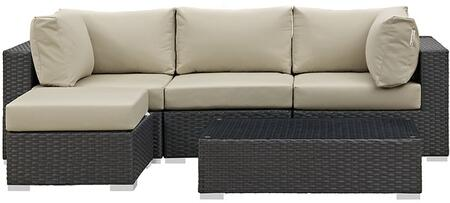 Sojourn Collection EEI-1890-CHC-BEI-SET 5 PC Outdoor Patio Sectional Set with Sunbrella Fabric  Synthetic Rattan Weave  Powder Coated Aluminum Frame
