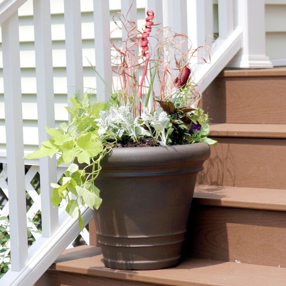 Sunnydaze Crozier Outdoor Double-Walled Flower Pot  Planter - Rust - 16