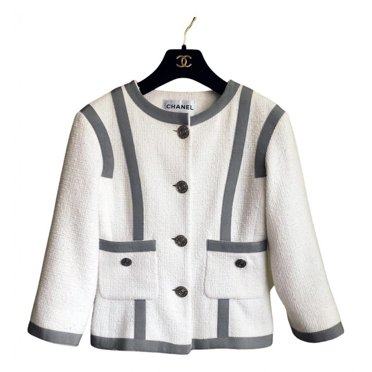 Chanel \N Jacke in  Weiss Tweed
