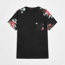T-Shirt mit Blumen Muster, Taschen Flicken und Raglan Ärmeln