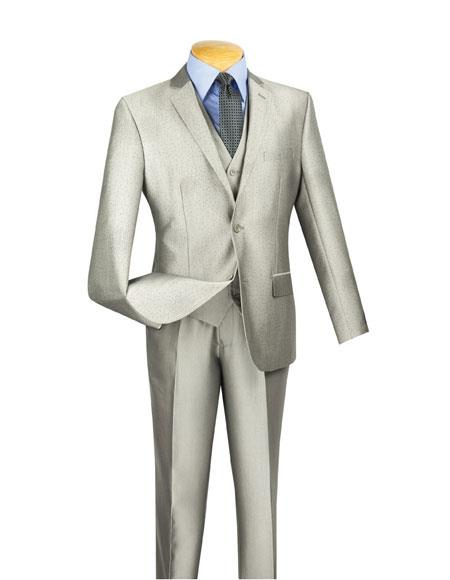 Men's Dot Pattern 2 Buttons Single Breasted 3 Piece Slim Fit Gray Suit