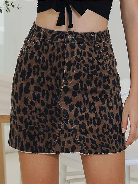 Yoins Camel Button Design Leopard Denim Skirt