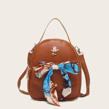 Metal Floral Decor Backpack With Twilly Scarf