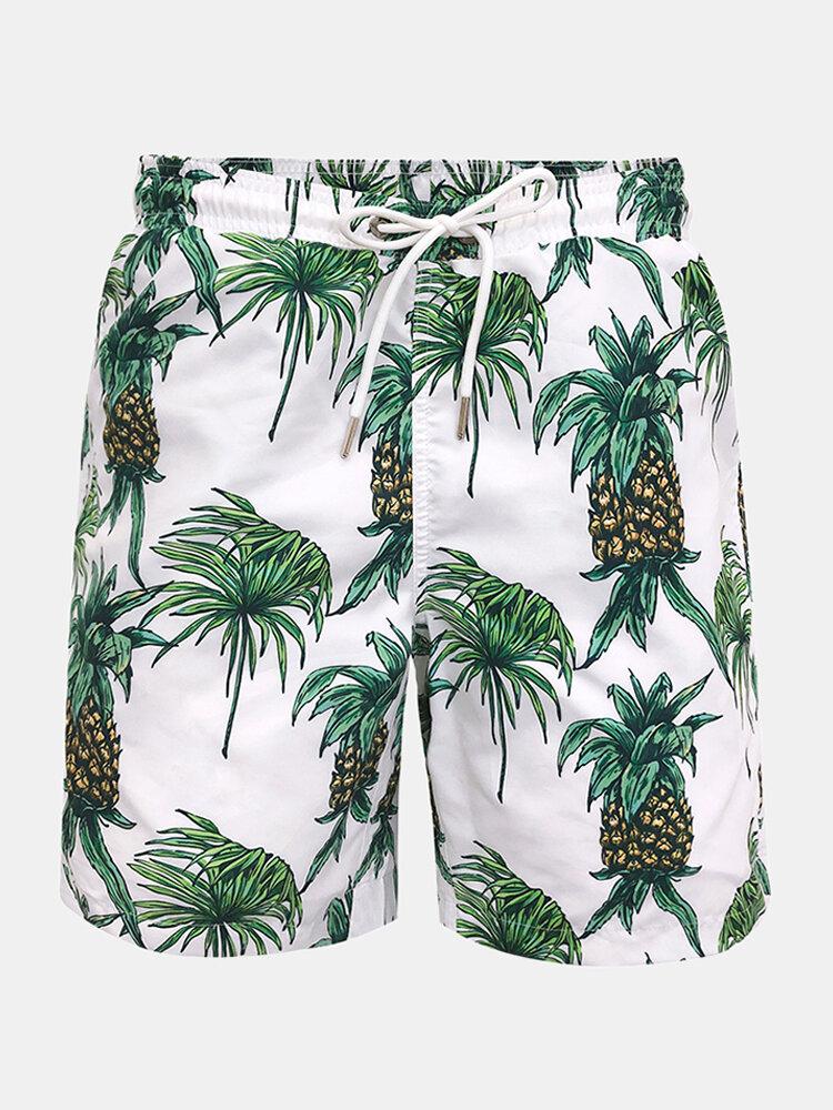 Men Board Shorts Pineapple Print Elastic Waist Quick Drying Swim Shorts With Pocket