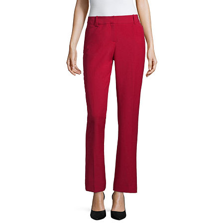 Worthington Womens Curvy Fit Perfect Trouser, 6 Long , Red