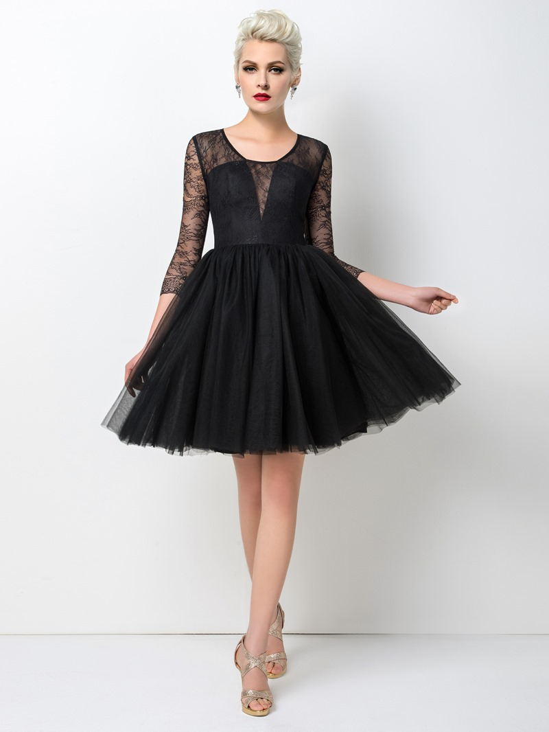 Ericdress Ladylike 3/4 Long Sleeves A-Line Short Lace Cocktail Dress