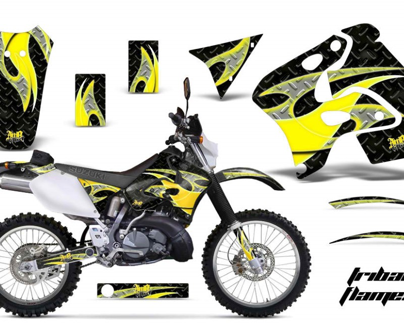 AMR Racing Dirt Bike Graphics Kit Decal Sticker Wrap For Suzuki RMX250S 1996-1998áTRIBAL YELLOW BLACK