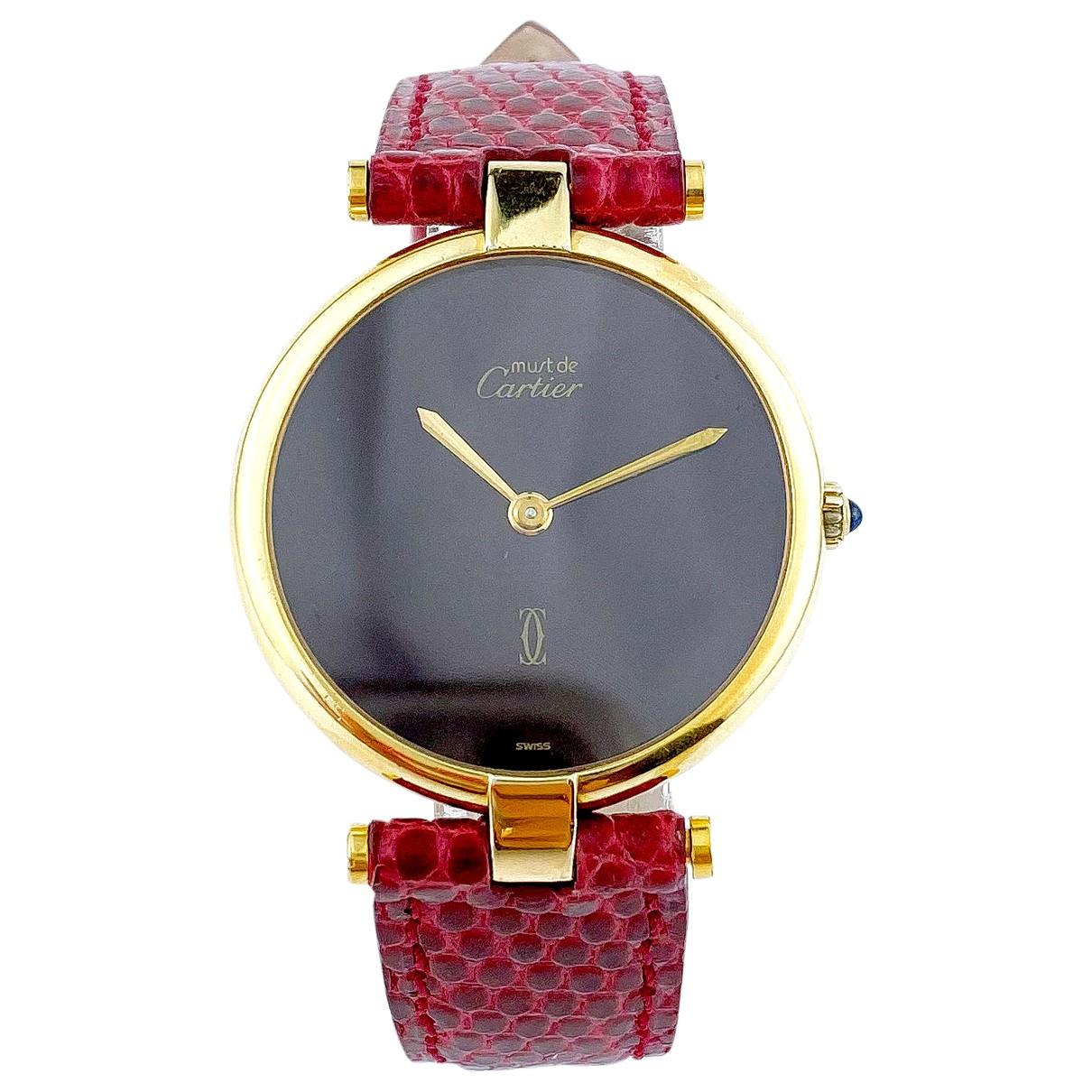 Cartier Must Vendôme  Burgundy Silver Gilt watch for Men \N