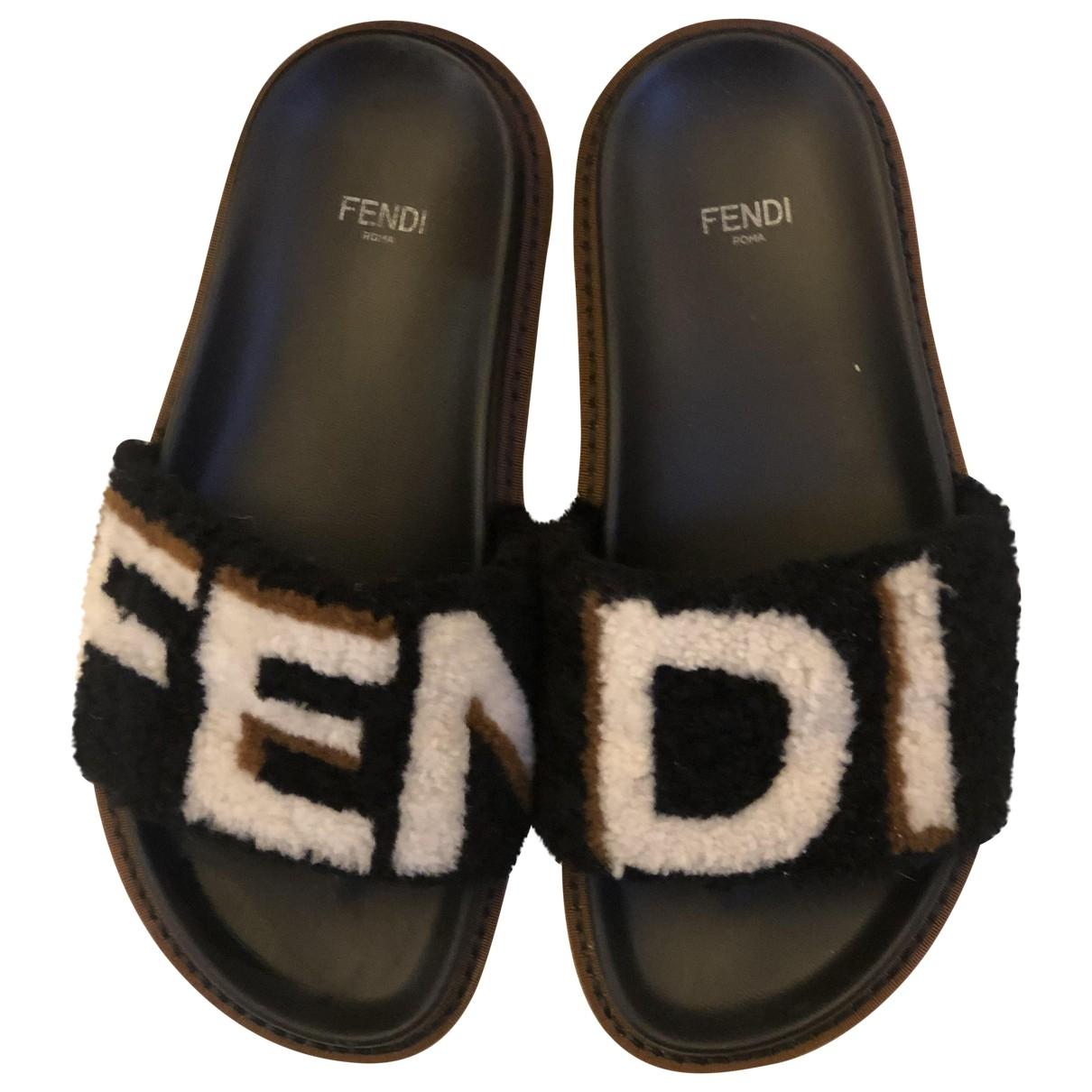 Fendi \N Black Shearling Sandals for Women 36 EU