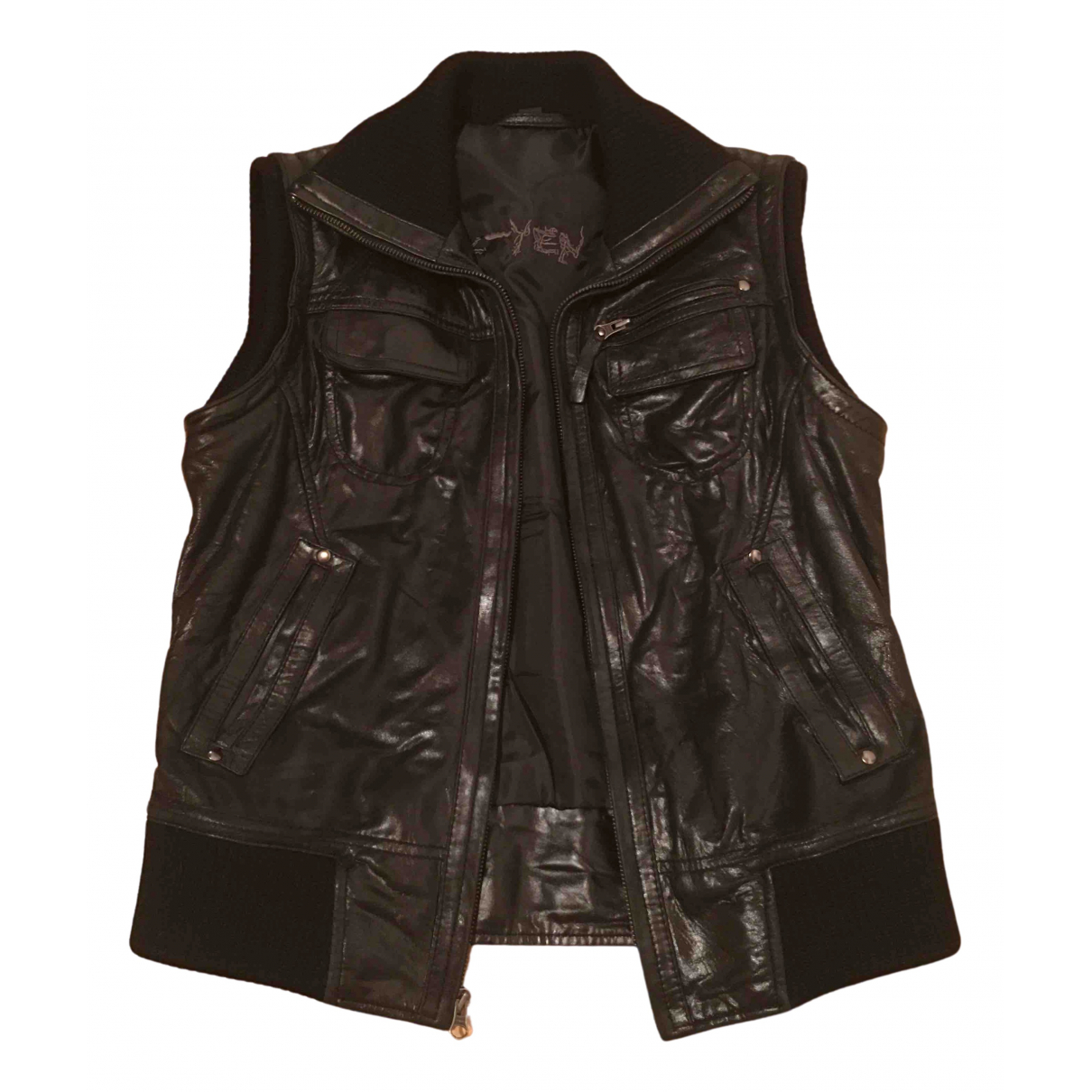 K-yen - Blouson   pour femme en cuir - noir
