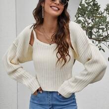 Rib-knit Super Crop Cardigan With Camisole