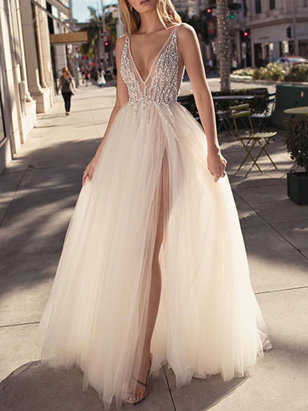 Milanoo Bridal Dress 2020 A Line V Neck Sleeveless Beaded Court Train Front Split Tulle Bridal Gowns
