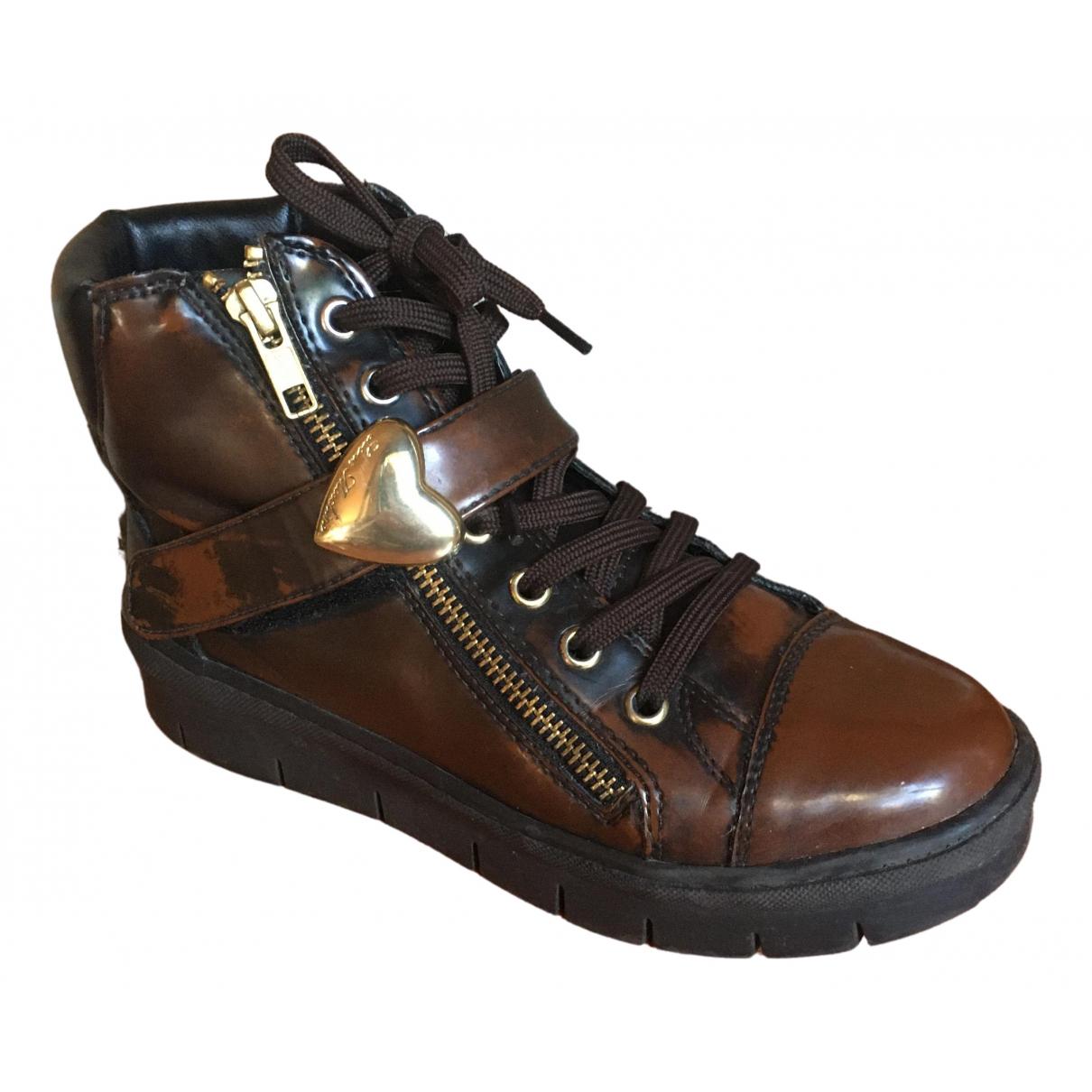 Moschino Love - Boots   pour femme en cuir - marron