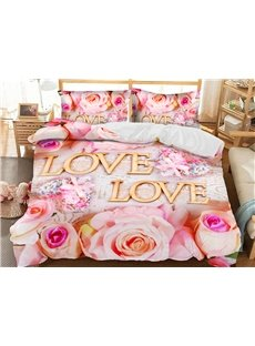 Pink Love Roses Duvet Cover Soft 3D Printed Polyester 3-Piece Romantic Bedding Sets