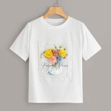 T-Shirt mit Blumen Applikationen und Spitzen Einsatz