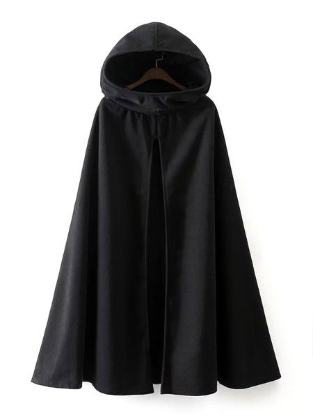 Milanoo Women Coat Cape Hoodie Jacket Poncho Coat