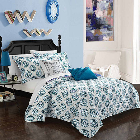 Chic Home Jaden Reversible Quilt Set, One Size , Blue