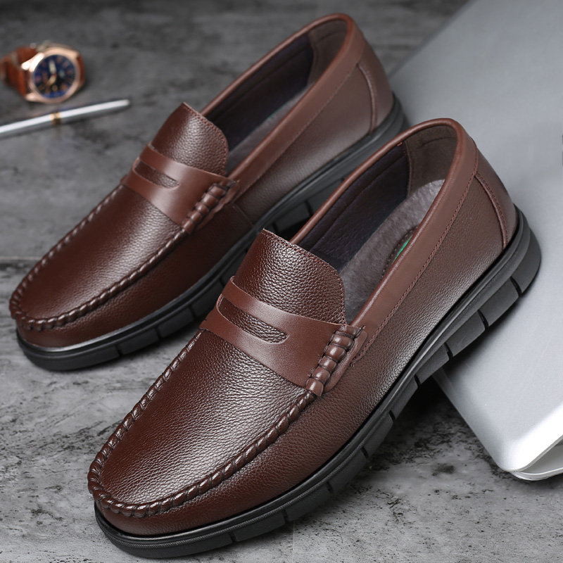 Men Classic Moe Toe Low Top Soft Slip On Casual Leather Loafers