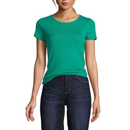 St. John's Bay-Womens Crew Neck Short Sleeve T-Shirt, Petite X-large , Green