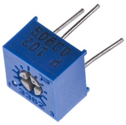 Bourns 1kΩ, Through Hole Trimmer Potentiometer 0.5W Top Adjust , 3362