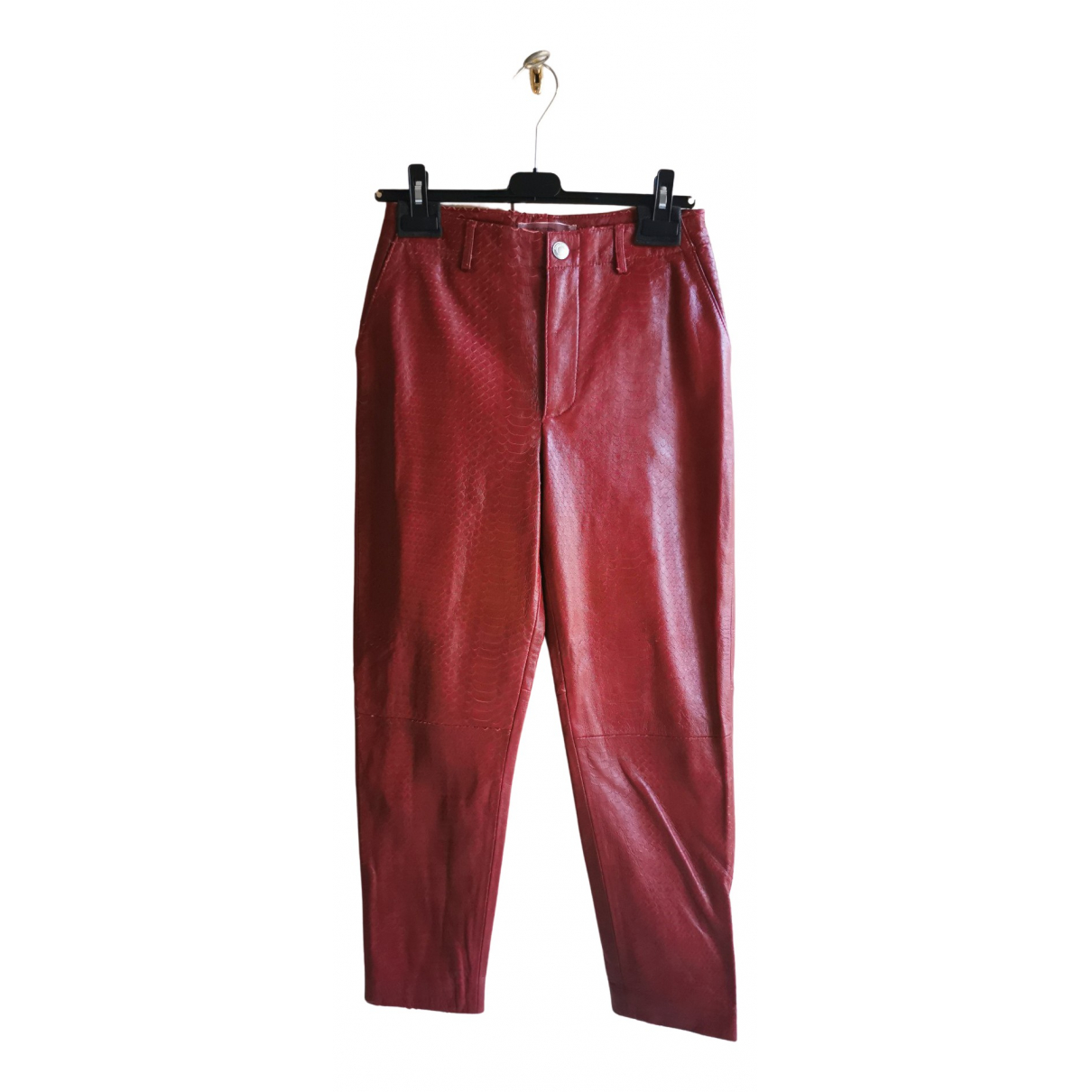 Giambattista Valli X H&m N Red Leather Trousers for Men 36 FR
