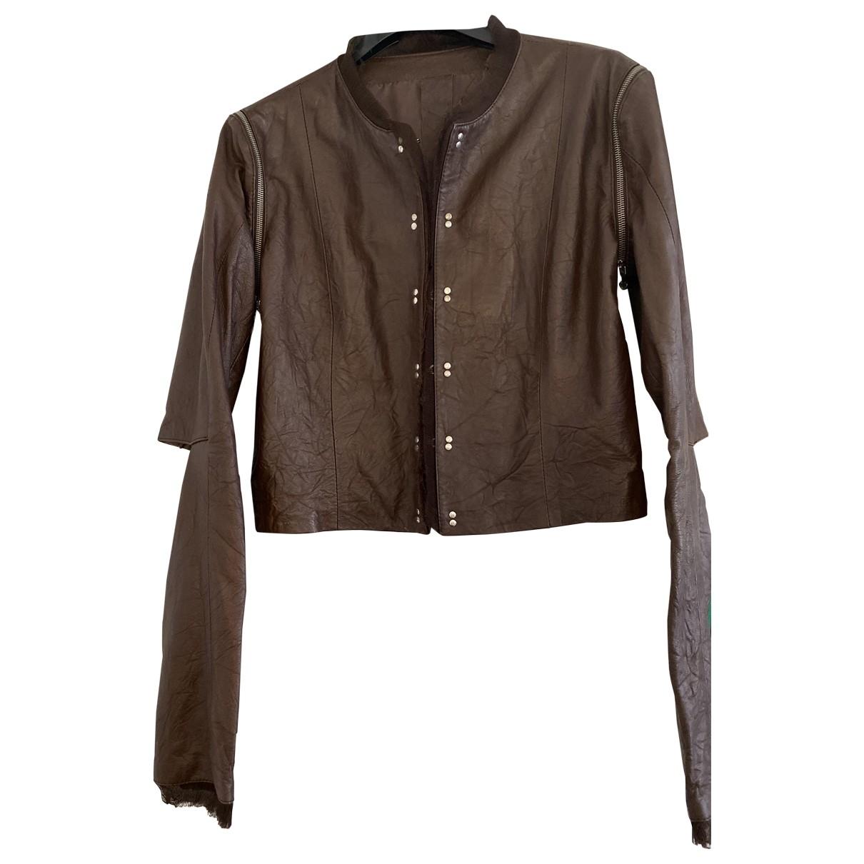 Twin Set - Veste   pour femme en cuir - marron