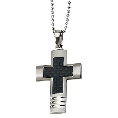 Mens Stainless Steel Black Carbon Fiber Cross Pendant, One Size , No Color Family