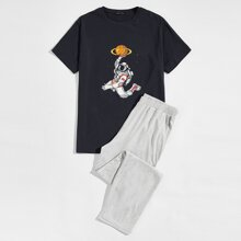 Men Astronaut Print Top & Pants PJ Set