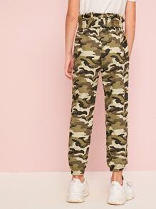 Girls Paperbag Waist Slant Pocket Belted Camo Pants