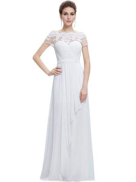 Milanoo Vestido para la madre de los novios con escote barco con manga corta con pliegues de linea A hasta el suelo