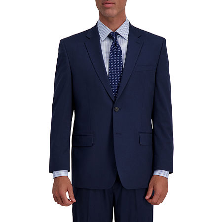 JM Haggar 4-Way Stretch Classic Fit Houndstooth Classic Fit Stretch Suit Jacket, 42 Short, Blue