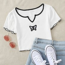 Notch Neck Lettuce Trim Butterfly Patched Crop Ringer Tee