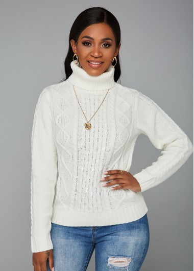Trendy Cable Knit Turtleneck Long Sleeve Sweater - XL
