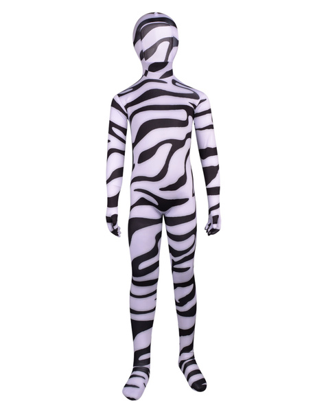 Milanoo Halloween White Unisex Lycra Bodysuit Zebra Printed Zentai Suits For Kids Halloween