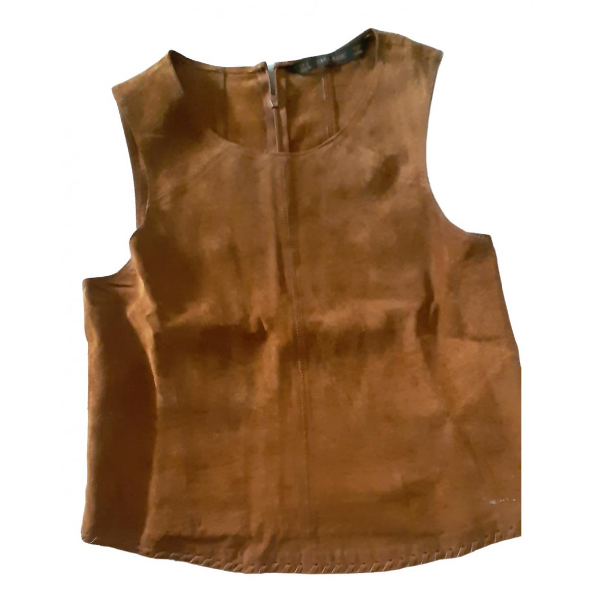 Zara - Top   pour femme en cuir - marron