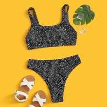 Maedchen Bikini Badeanzug mit Dalmatiner Muster und Knoten vorn