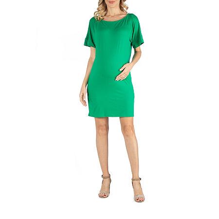 24/7 Comfort Apparel Scoop Neck Loose Fit Dolman Sleeve Dress, Medium , Green
