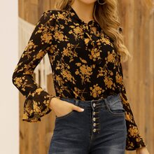 Tie Neck Allover Floral Blouse