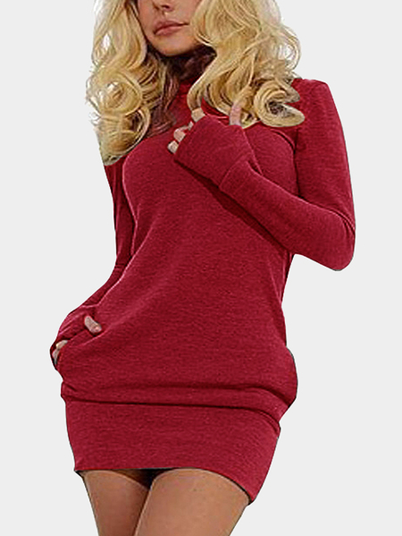 Yoins Red Roll Neck Casual Dress with Two Side Pockets