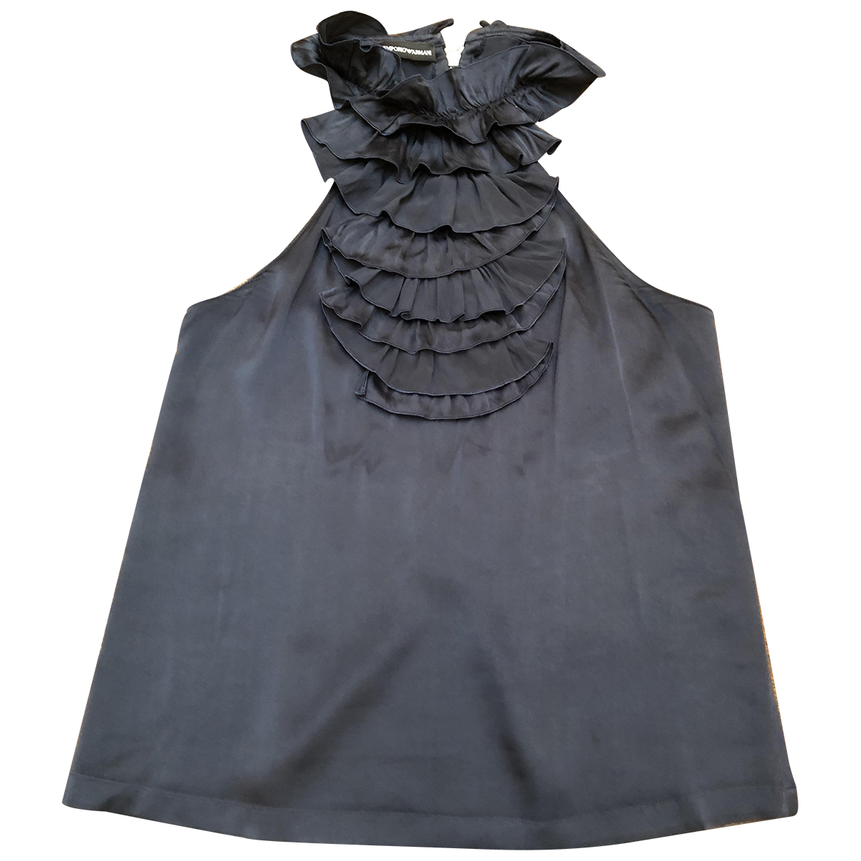 Emporio Armani N Navy Silk  top for Women 38 IT