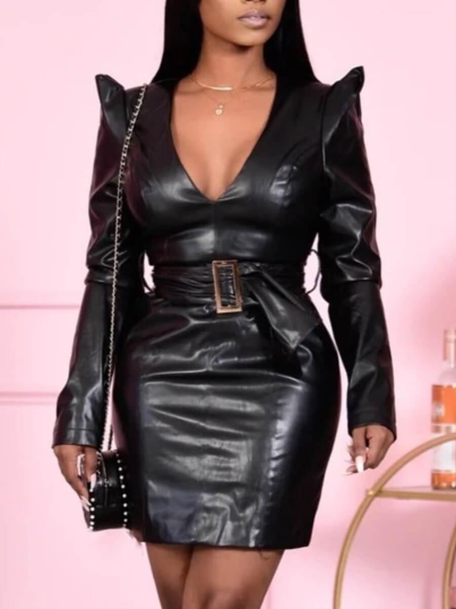 LW Lovely Stylish Deep V Neck Black Mini Dress