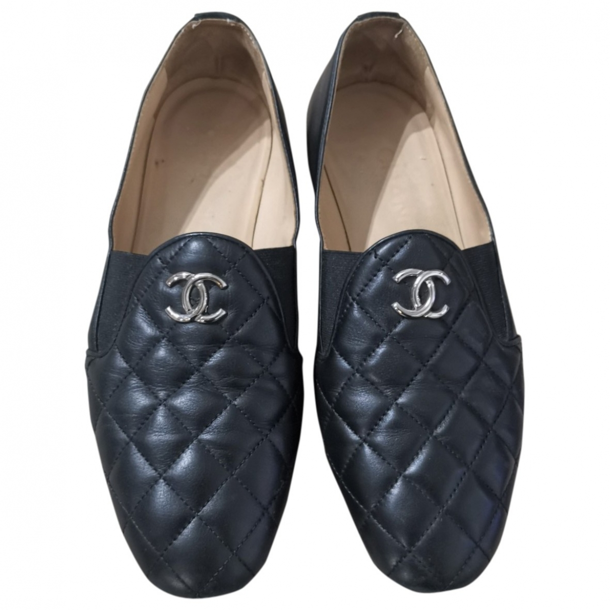 Chanel \N Black Leather Flats for Women 36.5 EU