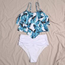 Tropical Hanky Hem High Waisted Bikini Swimsuit