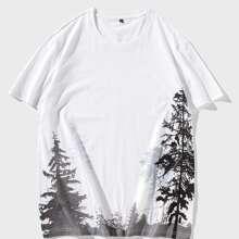 T-Shirt mit Baum Muster und rundem Kragen