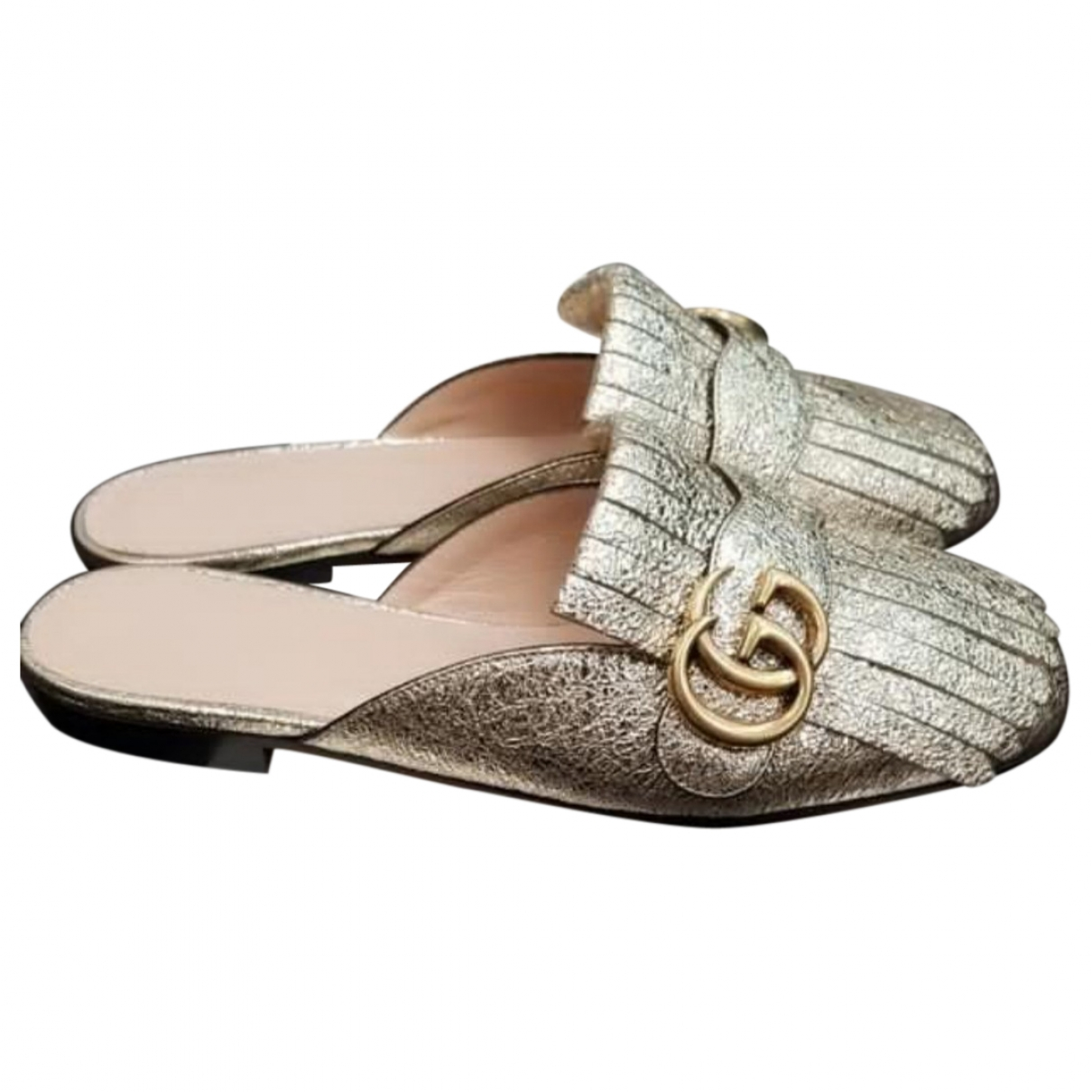 Gucci Marmont Gold Leather Flats for Women 36.5 EU