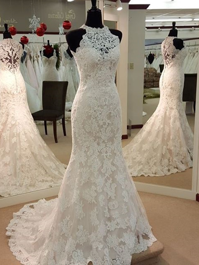 Ericdress Halter Appliques Mermaid Lace Wedding Dress