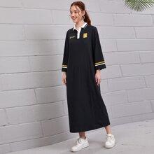 Kleid mit Streifen am Kragen, Knopfen vorn und Buchstaben & Hase Muster