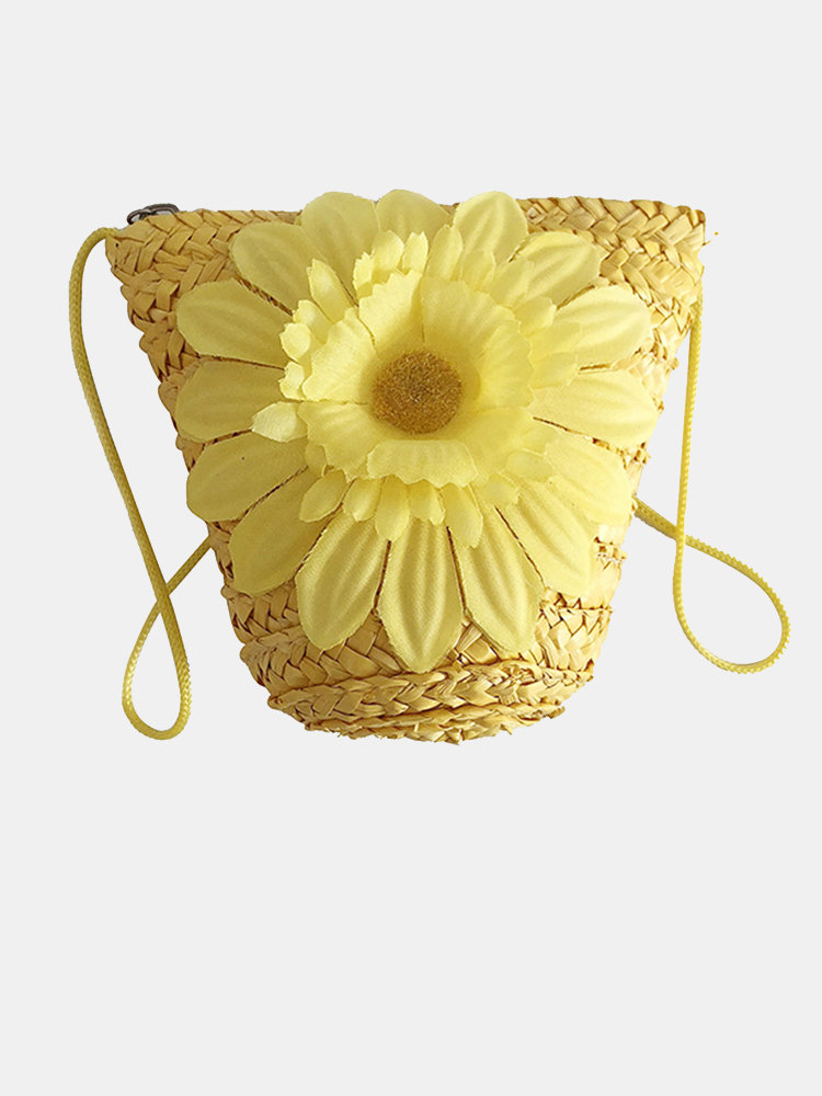 Women Flower Weaving Mini Phone Crossbody Bag