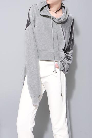 Yoins Fashion Gray Splicing design Reversible Hoodie