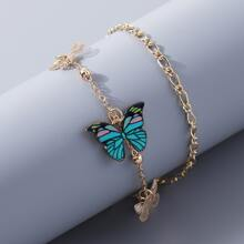 Pulsera tobillera con mariposa